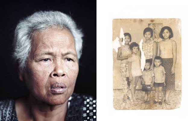 The artist's grandmother, with a family portrait taken in Cambodia in 1973.